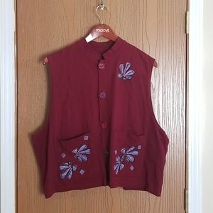 Blue Fish Red Sleeveless Button Front Top Vest